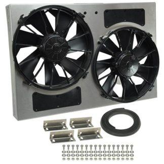 """Derale 16826 High Output Dual 12"""" Electric RAD Fan / Aluminum Shroud Kit - 25-5/8""""W x 17-1/8""""H x 4""""D."""
